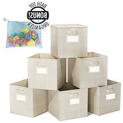 ClosetMate Foldable Cube Storage Bins - 6 Pack - Bonus Toy O