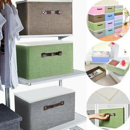 Collapsible Fabric Storage Bin Box Cube Organizer with Lid &