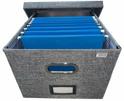 Collapsible File Box Storage Organizer with lid - Decorative