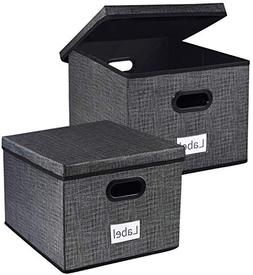 Homyfort Collapsible File Storage Box Bins with Removable Li