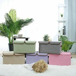Collapsible Large Storage Box Bin Basket Cube with Lids & Re