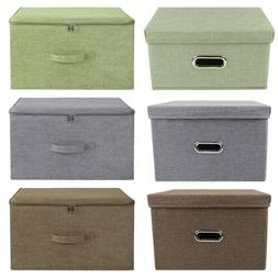 Collapsible Storage Bin Box with Lid Heavy Duty Fabric Cube