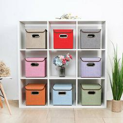 Collapsible Storage Bin Linen Fabric Cube Organizer Box with