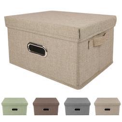 Collapsible Storage Bins Linen Fabric Foldable Boxes Organiz