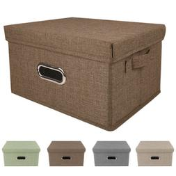Collapsible Storage Bins Linen Fabric for Shelves Closet Bas