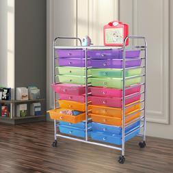 Colorful Multi-layers Storage Box Cabinet Rolling Cart w/ 20