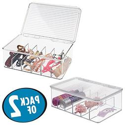 mDesign Compact Stackable Hair and Makeup Storage Organizer