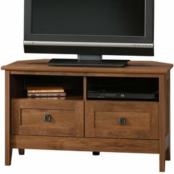 """Corner Entertainment Stand 40"""" Wide TVs, Oiled Oak Finish, D"""