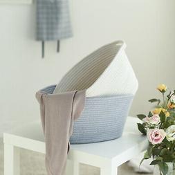 Cotton Rope Woven Storage Basket Bin Neutral Toy Chest Box O