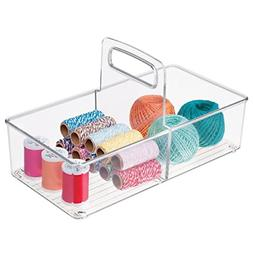 mDesign Craft and Sewing Storage Organizer Tote with Handle