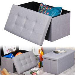 Cube Ottoman Pouffe Storage Box Lounge Seat Footstools Top G