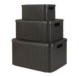 Keter Curver Style Baskets Set of 3 Rectangular Resin Wicker