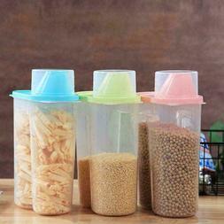 CW_ Plastic Cereal Dispenser Storage Box Kitchen Food Storag