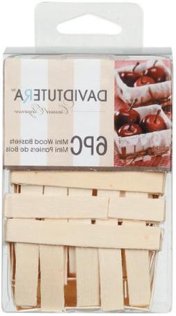 David Tutera Mini Wood Baskets - 2.75 x 2.75 x 1.35 inches -