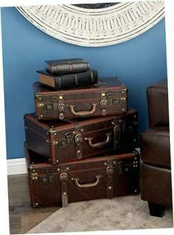 Deco 79 56976 Wood and Leather Vintage Suitcase Boxes , Brow
