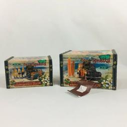 Household Essentials Decorative 2 Storage Boxes,Surf Barrel
