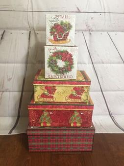 Decorative 5 pc Christmas Cardboard Gift Storage Photo Box L