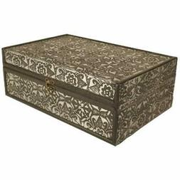 "Decorative Boxes Silver Metal "" Wood 13"" Storage Box/Trunk H"