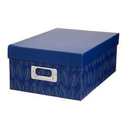 Darice Decorative Photo Storage Box Blue Leaves