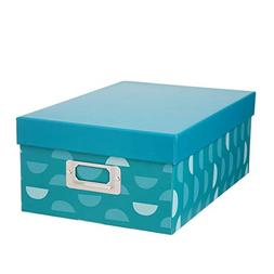 Darice Decorative Photo Storage Box: Half Moon Cardstock, Bl