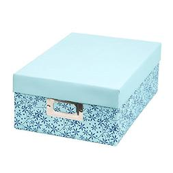 Darice Decorative Photo Storage Box Mini Blue Leaves Print