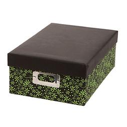 Darice Decorative Photo Storage Box Mini Green Leaves Print