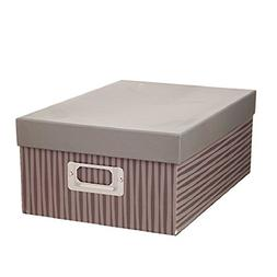 Darice Decorative Photo Storage Box Taupe Stripes