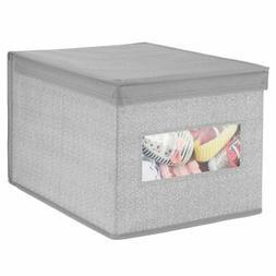 mDesign Decorative Soft Stackable Fabric Closet Storage Orga