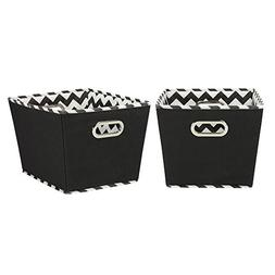 Household Essentials Decorative Storage Bins, 2pk, Black and