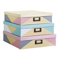 SLPR Decorative Storage Cardboard Boxes with Metal Plate  |