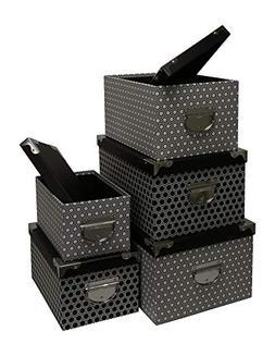 Kraft King Decorative Storage Boxes - Nested, Metal Reinforc