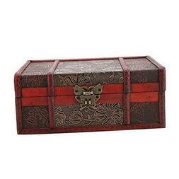 Decorative Treasure Box, Vintage Wooden Large Desktop Storag