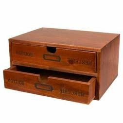Decorative Wooden Chest Box Storage Drawers Holder Multipurp