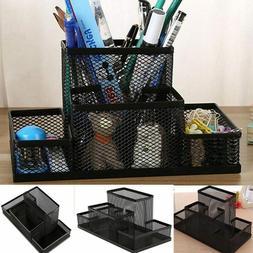 Desktop storage box pen holder grid metal desktop office lea