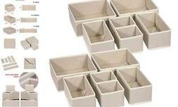 DIOMMELL 12 Pack Foldable Cloth Storage Box Closet Dresser D