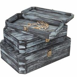 MyGift Distressed Charcoal Gray Wood Nesting Chests, Set of