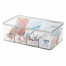 mDesign Divided First Aid Kit Storage Box for Cabinet, Close