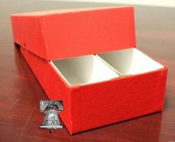 Double Row Coin Holder Storage Box Red 10x4x2 for 2x2 Flip S