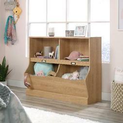 Dover Oak Finish Storage Bin Bookcase Home Playroom Organize
