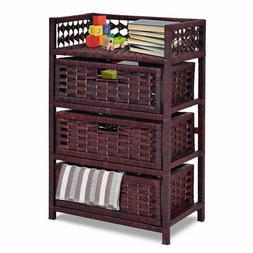 Drawer Storage Unit Tower Shelf 3 Wicker Baskets Storage Che