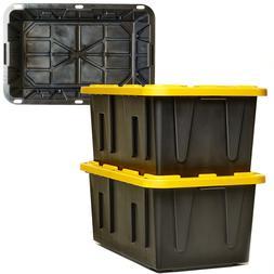 Durabilt by Homz - 27 Gallon Tough Tote, Black and Yellow W