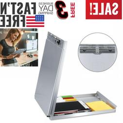 Metal Clipboard Letter Storage Office Document Paper Box Org