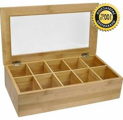 Estilo Bamboo Tea Storage Box, 10 Equally Divided Compartmen