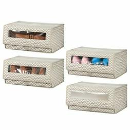 mDesign Fabric Shoe Storage Box, Clear Window, Hinged Lid, 4