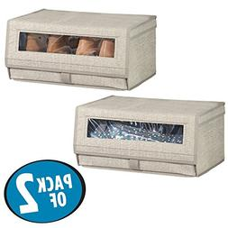 mDesign Fabric Storage Box for Shoes, Boots, Pumps, Sandals,