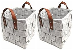 ECOHIP 2-Pack Small Felt Woven Storage Basket Decorative Clo