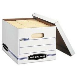 Bankers Box File Storage Box w/Lift-Off Lid, White, 6 Boxes