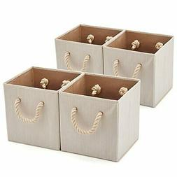 Set of 4 EZOWare Foldable Bamboo Fabric Storage Bins with Co