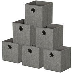 HomeCrate Foldable Burlap Canvas, Cloth Storage Cube Basket