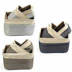 Foldable Cotton Linen Toy Laundry Storage Basket with Rope H